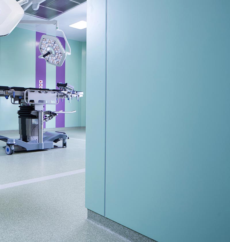 The OR Module from GB-HLS features configurable walls available in finishes from DuPont Corian